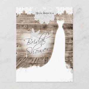 Bridal Shower on Barn Wood with Lace & White Dove Invitation Postcard starting at 1.70