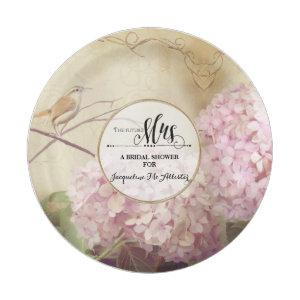 Bridal Shower Paper Party Decor Pink Hydrangea Art Paper Plate starting at 1.70