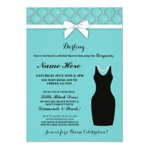 Bridal Shower Party Blue Black Dress Pearls Invite starting at 2.51