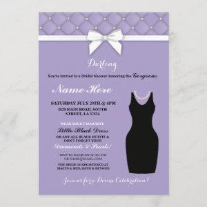 Bridal Shower Party Lilac Black Dress Pearl Invite starting at 2.51