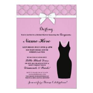Bridal Shower Party Pink Black Dress Pearls Invite starting at 2.51