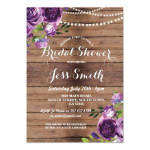 Bridal Shower Party Purple Flowers Chalk Invite starting at 2.51