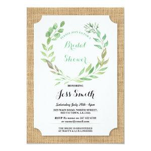 Bridal Shower Party Rustic Burlap Leaves Invite starting at 2.51