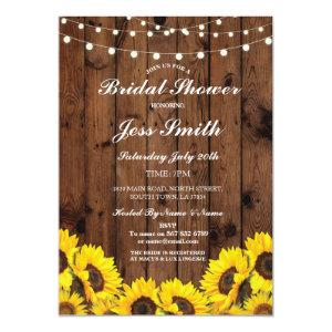 Bridal Shower Party Rustic Sunflower Wood Invite starting at 2.51
