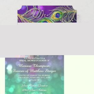 Bridal Shower Peacock Feather Jeweled Feathers Invitation starting at 3.28