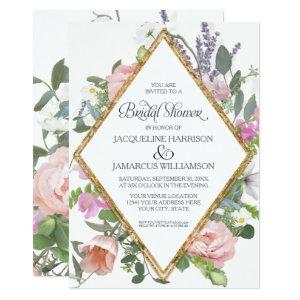 Bridal Shower Peony Lavender Gold Floral Elegant Invitation starting at 2.66