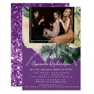 Bridal Shower Photo Purple Floral Birthday Girls Invitation starting at 1.95