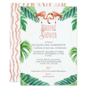 Bridal Shower Pink Flamingo Leaf Stripe Watercolor Invitation starting at 2.66
