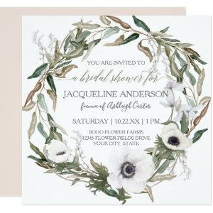 Bridal Shower Pink Rustic Winery Olive Leaf Wreath Invitation starting at 2.51