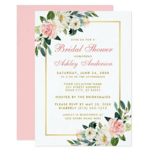 Bridal Shower Pink White Gold Floral Invitation GP starting at 2.51