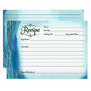 Bridal Shower Recipe Card Modern Simple Geode Blue starting at 2.31