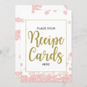 Bridal Shower Recipe Cards Sign | Pink and Gold starting at 2.50