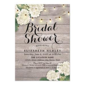 Bridal Shower Rustic Wood Hydrangea Flowers Lights Invitation starting at 2.15