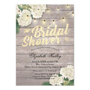 Bridal Shower Rustic Wood Hydrangea Flowers Lights Invitation starting at 2.40