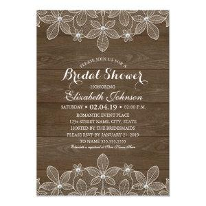 Bridal Shower Rustic Wood Lace Elegant Country Invitation starting at 2.55