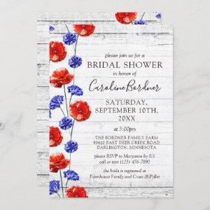 Bridal Shower Rustic Wood & Red Poppy Country Invitation starting at 2.25