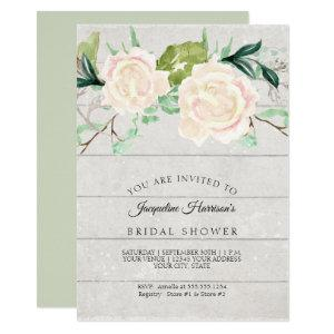 Bridal Shower Rustic Wood Watercolor Ivory Roses Invitation starting at 2.55