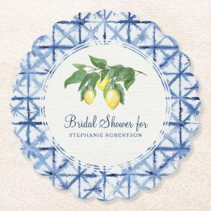 Bridal Shower Shibori Indigo Pattern w Lemon Leaf Paper Coaster starting at 1.45