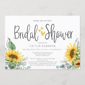 Bridal Shower Sunflower with Yellow Hearts Invitation starting at 2.50
