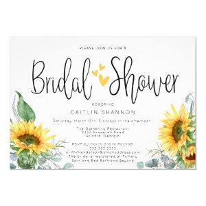 Bridal Shower Sunflower with Yellow Hearts Invitation starting at 2.55