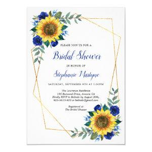 Bridal Shower Sunflowers Geometric Floral Blue Invitation starting at 2.40