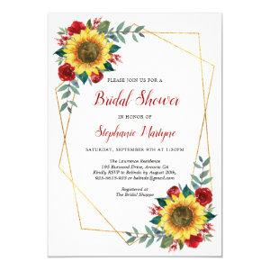 Bridal Shower Sunflowers Geometric Floral Red Invitation starting at 2.15