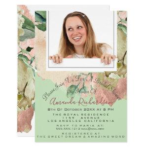 Bridal Shower Sweet 16th Photo Mint Peach Floral Invitation starting at 1.95