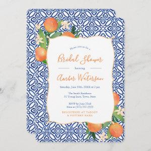 Bridal Shower - Sweet Citrus Oranges Classic Blue Invitation starting at 2.86