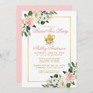 Bridal Shower Tea Party Gold Pink Floral Invite starting at 2.51