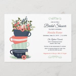 Bridal Shower Tea Party  | Blue & Coral starting at 2.66