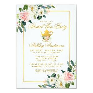 Bridal Shower Tea Party Pink Floral Gold Invite starting at 2.51