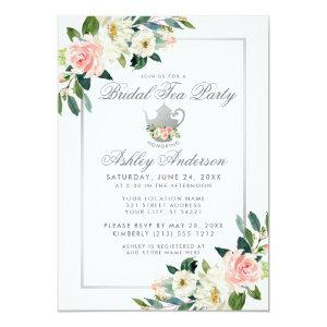Bridal Shower Tea Party Pink Floral Silver Invite starting at 2.51
