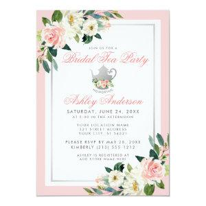 Bridal Shower Tea Party Pink Silver Floral Invite starting at 2.51