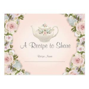 Bridal Shower Tea Party Recipe Rose Pretty Floral Postcard starting at 1.25