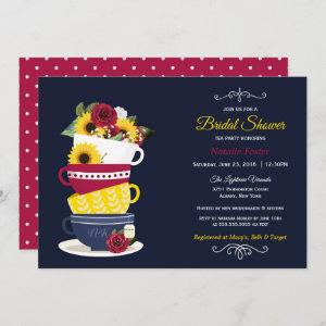 Bridal Shower Tea Party Roses & Sunflowers - Navy starting at 2.66