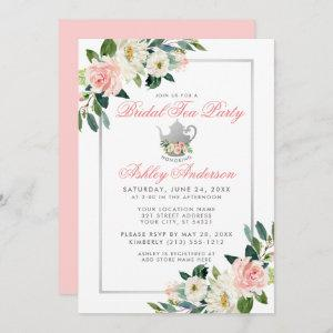 Bridal Shower Tea Party Silver Floral Pink Invite starting at 2.51