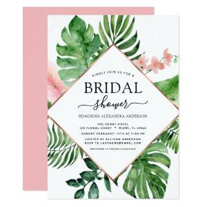 Bridal Shower Tropical Palm Watercolor Geometric Invitation starting at 2.51
