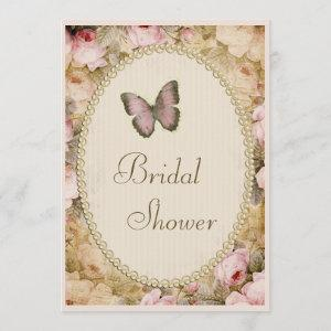 Bridal Shower Vintage Pearls Lace Roses Butterfly starting at 2.77