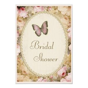 Bridal Shower Vintage Pearls Lace Roses Butterfly Invitation starting at 2.77