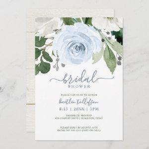 Bridal Shower Watercolor Bouquet Dusty Blue Invitation starting at 2.51