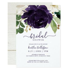Bridal Shower Watercolor Bouquet Plum Purple Invitation starting at 2.51