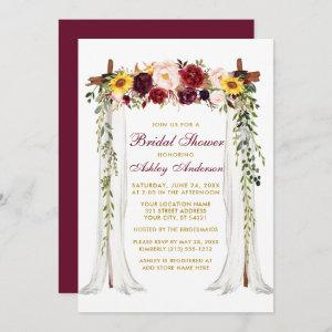 Bridal Shower Watercolor Mixed Floral Canopy Gold Invitation starting at 2.51
