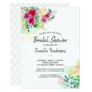 Bridal Shower Wedding Pretty Watercolor Flowers Invitation starting at 2.51