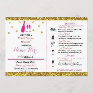 Bridal Shower Weekend Itinerary Champagne Invite starting at 2.51
