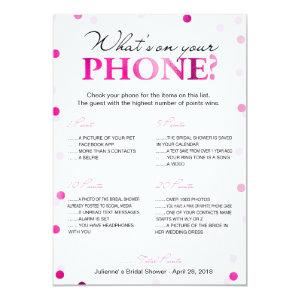 Bridal Shower What's on Your Phone Game Invitation starting at 2.35