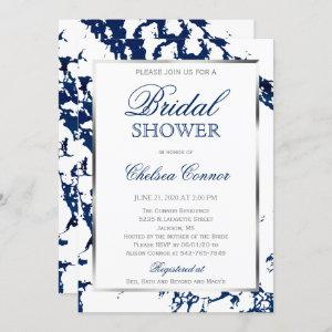 Bridal Shower - White, Navy Blue Marble & Silver Invitation starting at 2.40