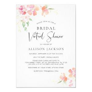 Bridal Virtual Shower Pink Gold Floral Watercolor Invitation starting at 2.40