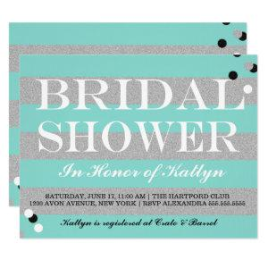 BRIDE & CO Silver & Teal Bridal Shower Party Invitation starting at 2.65