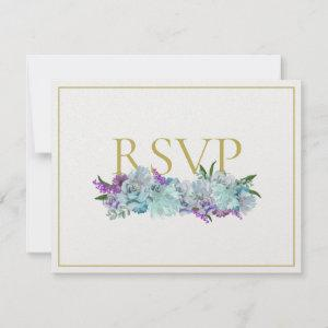 BRIDE CO Teal Blue Bouquet Tradition Wedding Suite RSVP Card starting at 3.55
