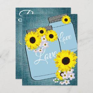BRIDE & CO Teal Blue Burlap Sunflower Shower Party Invitation starting at 2.20